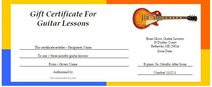 music gift certificate template  Gift Cards! - Brian Gross - Annandale Guitar Lessons